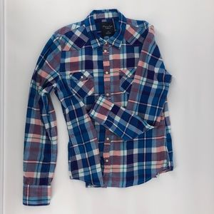 American Eagle Outfitters Plaid Snap Up Shirt